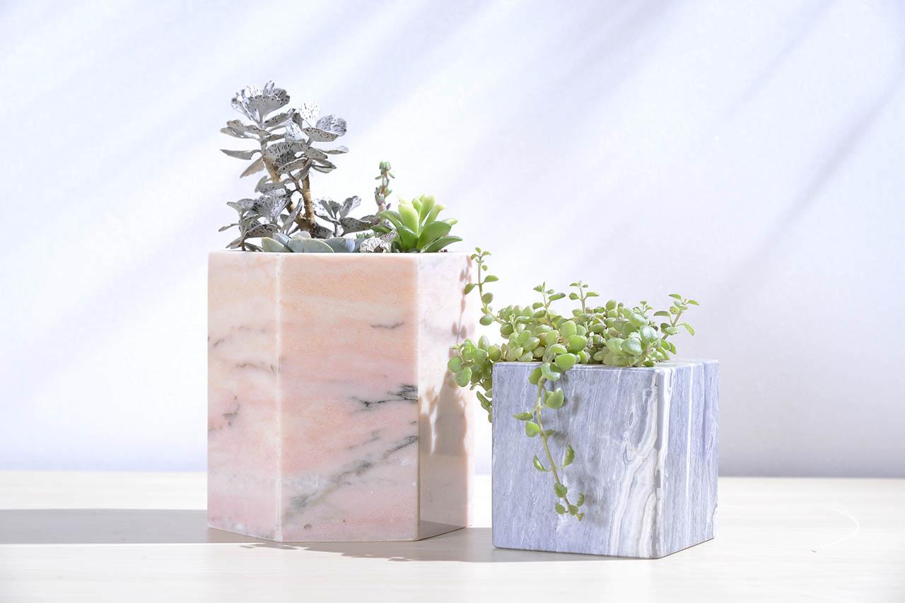 粉紅大理石盆