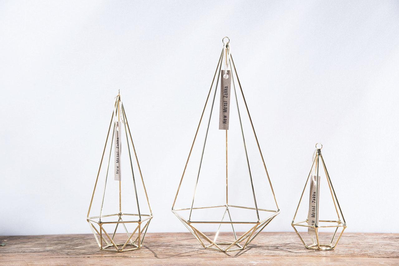 空氣鳳梨掛飾-香檳金/鑽石型 (三種尺寸) 3