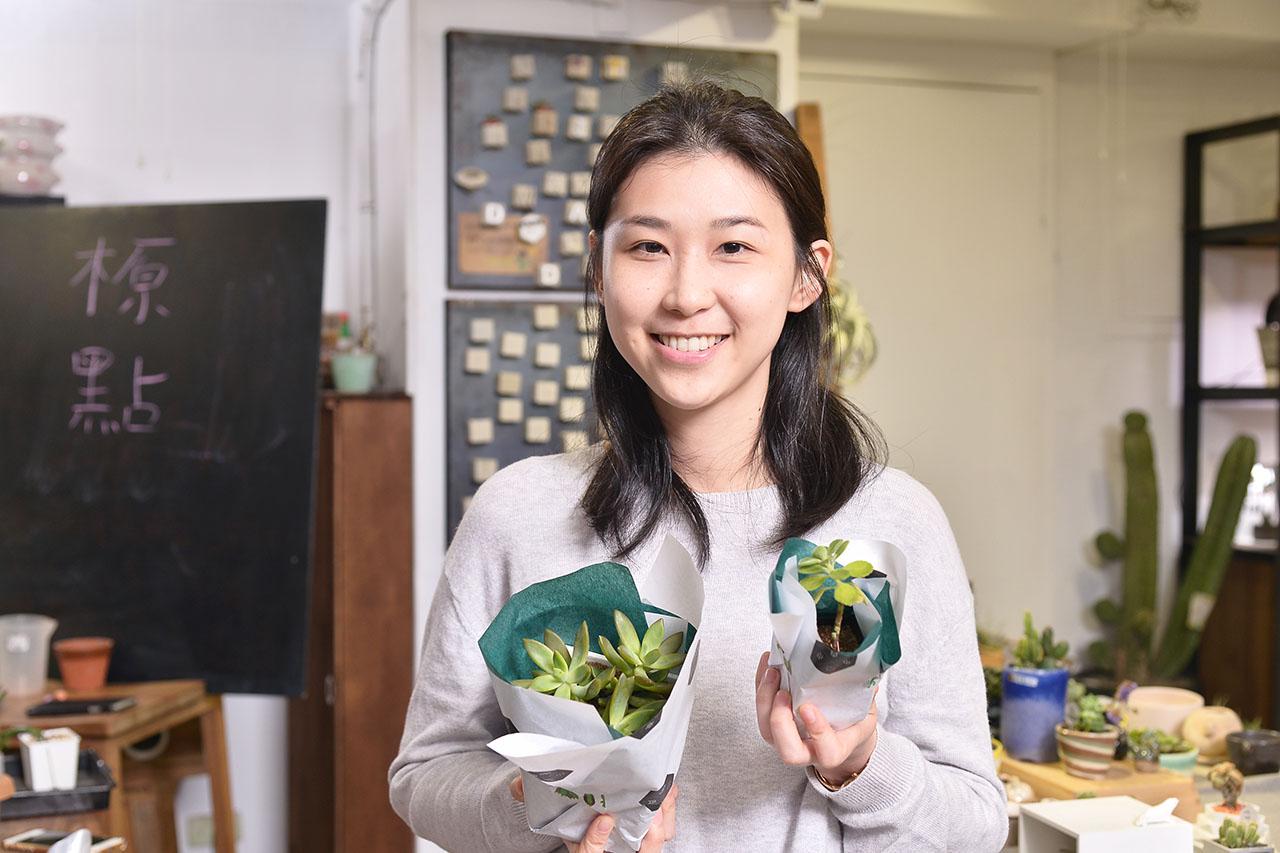 多肉植物養護課程,學員的成品分享,不僅可以帶著知識及講義回家,還有多肉植物可以選喔!