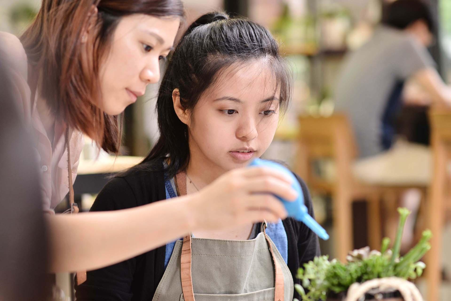 在老師的帶領下,掌握組盆與花藝的技巧,可以讓你的生活也可以帶上一些植物的生命力