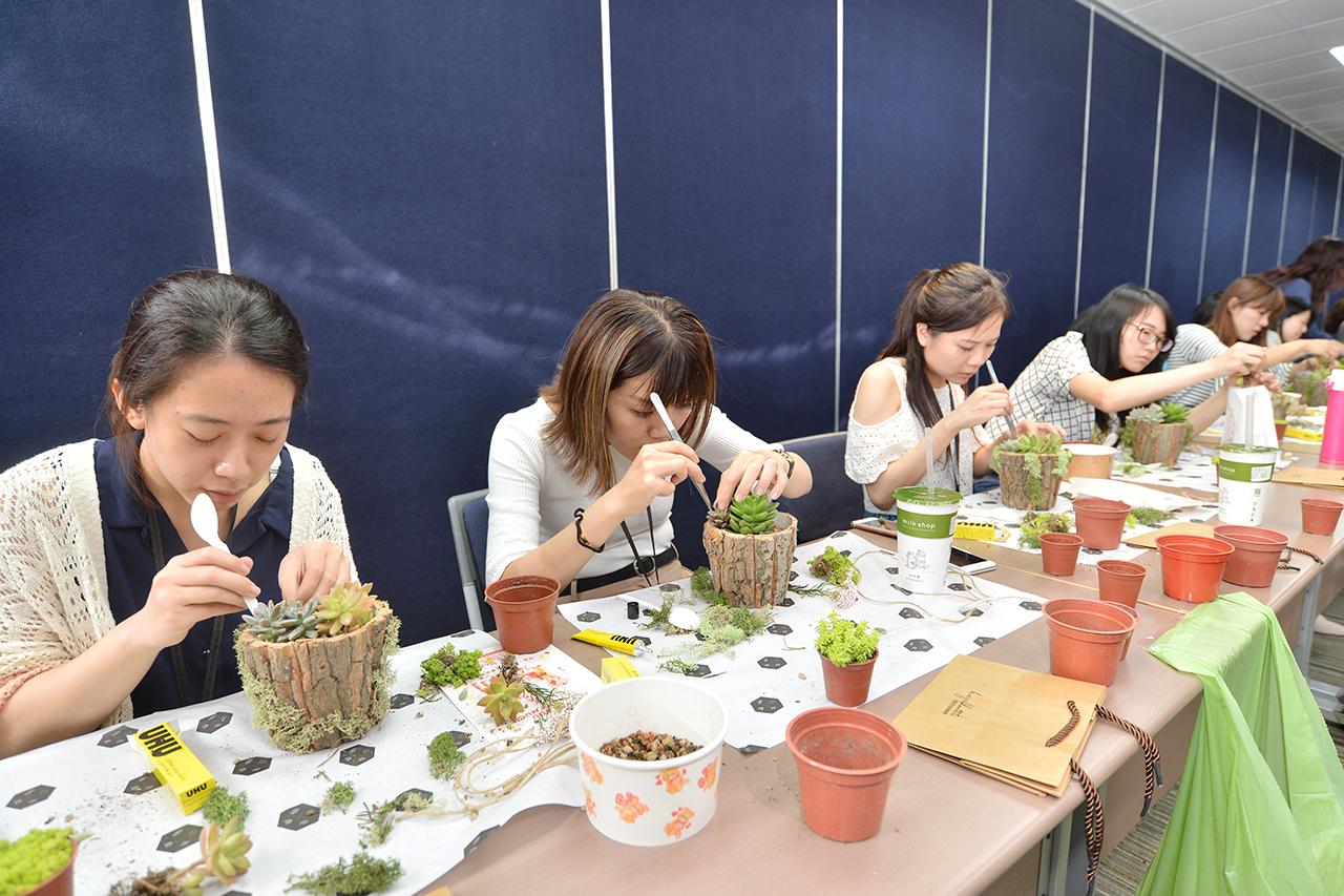 學員專心體驗多肉植物盆栽製作的過程