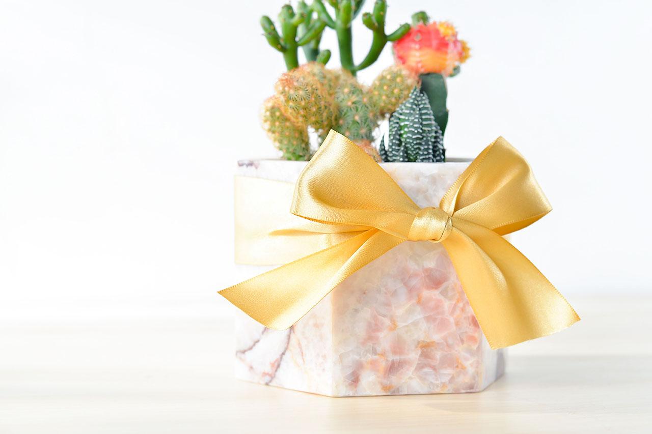 粉色大理石盆 - 抓錢寶盒(中六角) 5