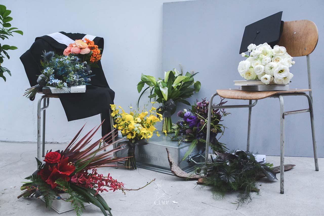 巧偶花藝設計,八種色系的花束提案~讓畢業花束各有特色