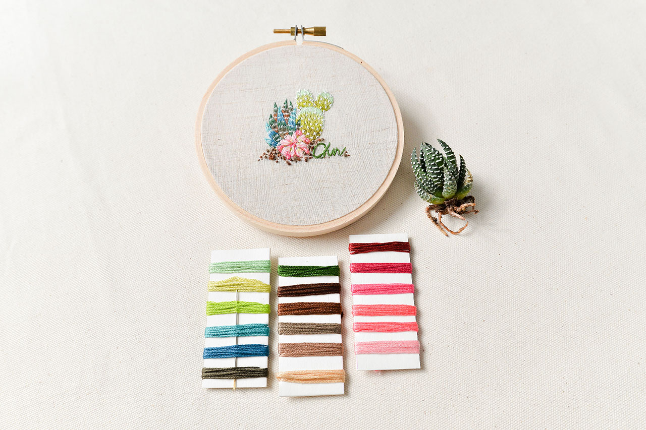 多肉植物刺繡