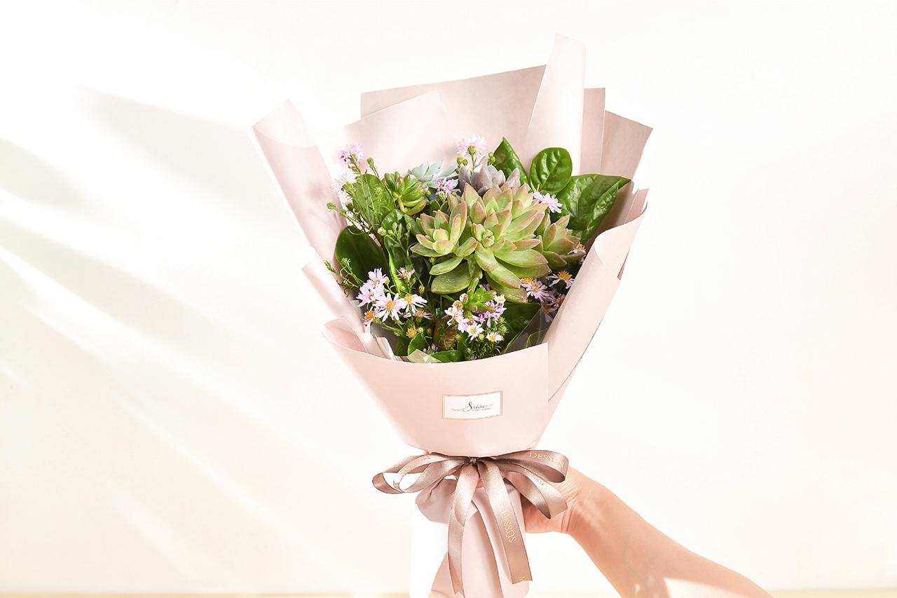 多肉花束 – 綠野仙蹤 粉色花束 01