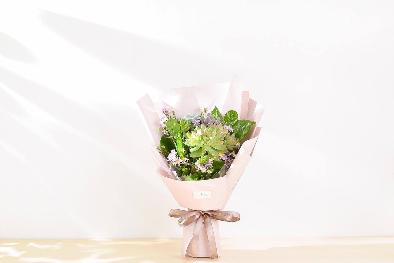 多肉花束 – 綠野仙蹤 粉色花束 03