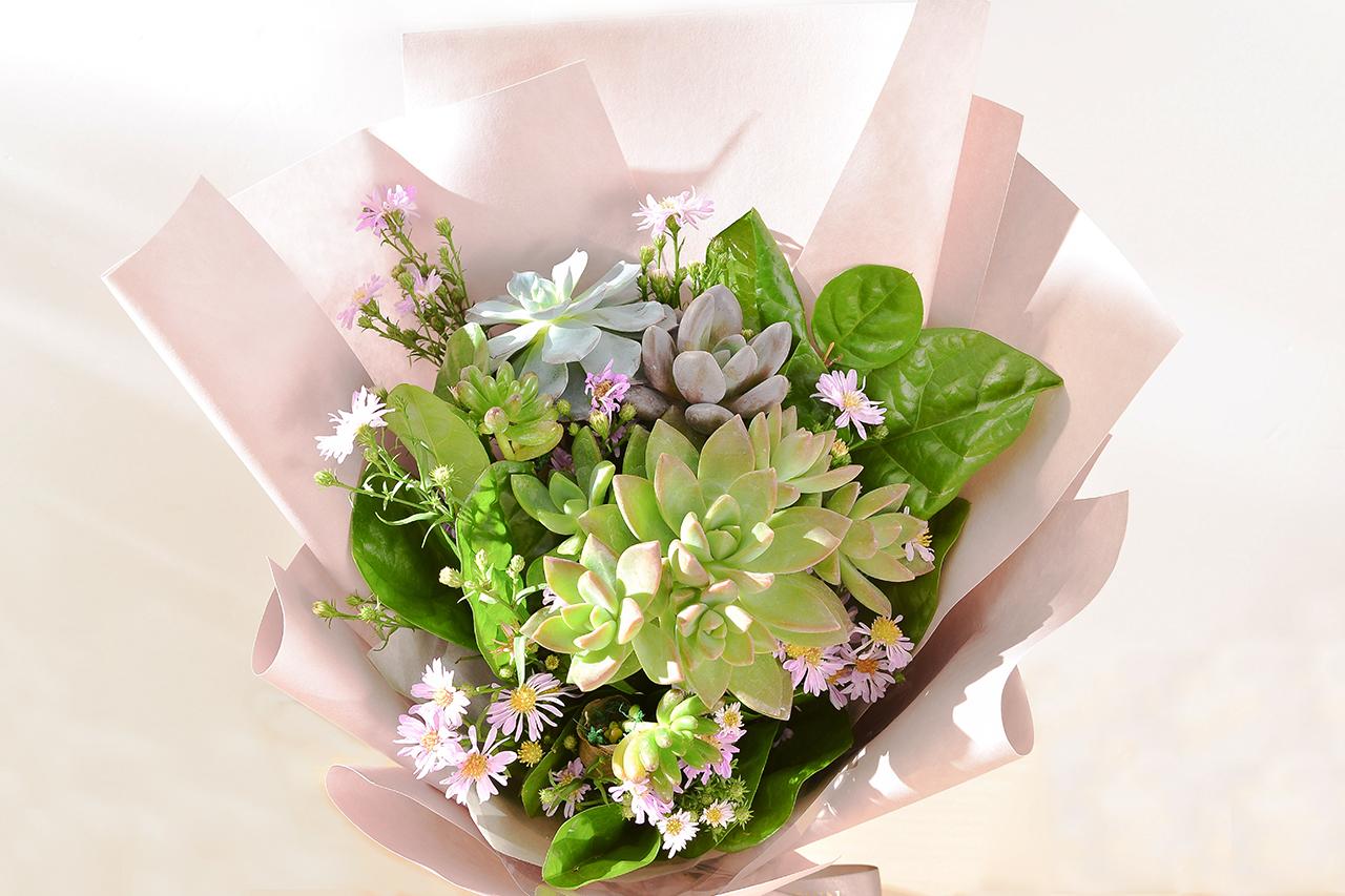 多肉花束 – 綠野仙蹤 粉色花束 09