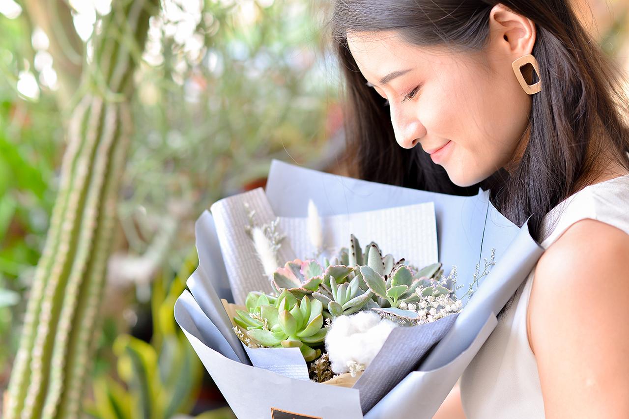 多肉花束 – 棉花田 (小) 紫色花束 09