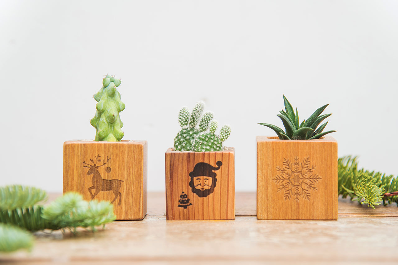木頭花盆聖誕禮物