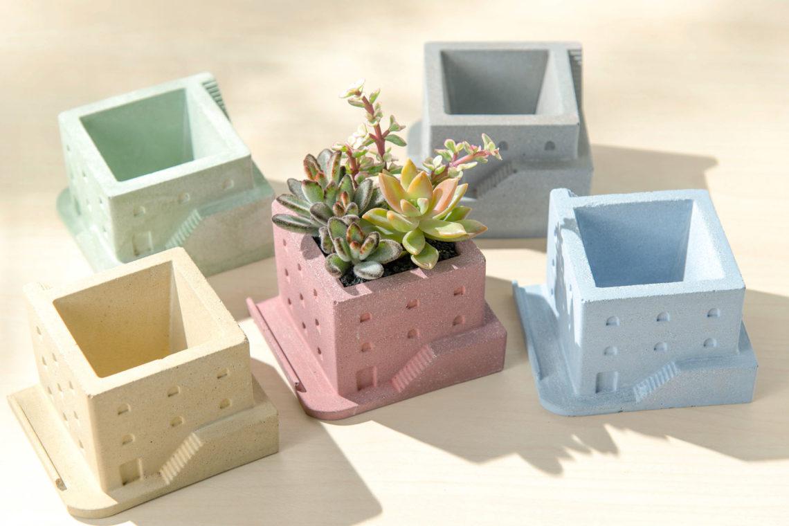 多種顏色水泥盆器