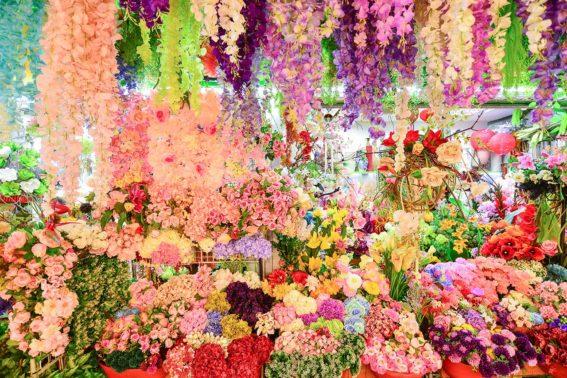 內湖花市買人造花卉花牆