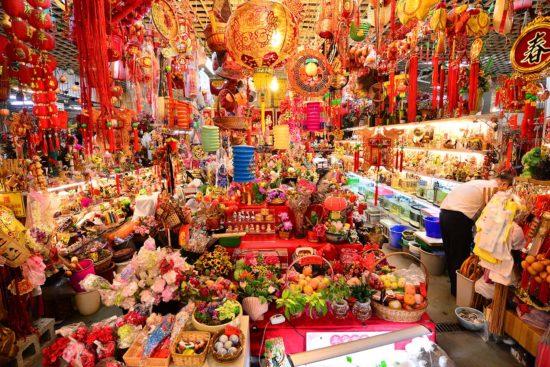 台北花木批發市場買人造花卉、過年裝飾