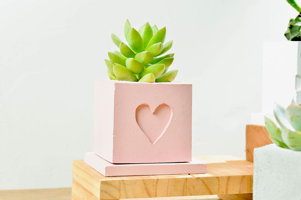 粉紅色水泥盆栽
