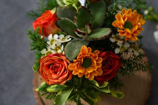 橘色花藝範例
