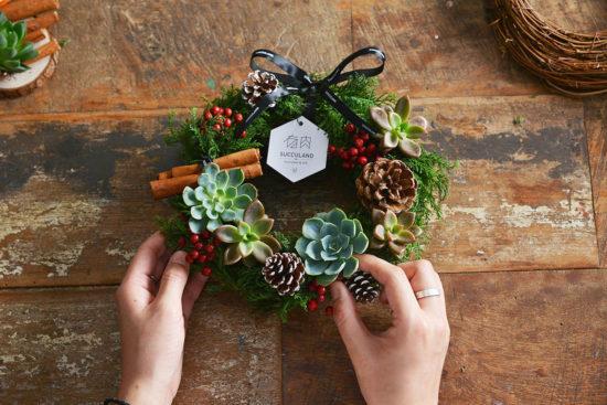 9 種多肉花圈的風格設計 聖誕多肉花圈10