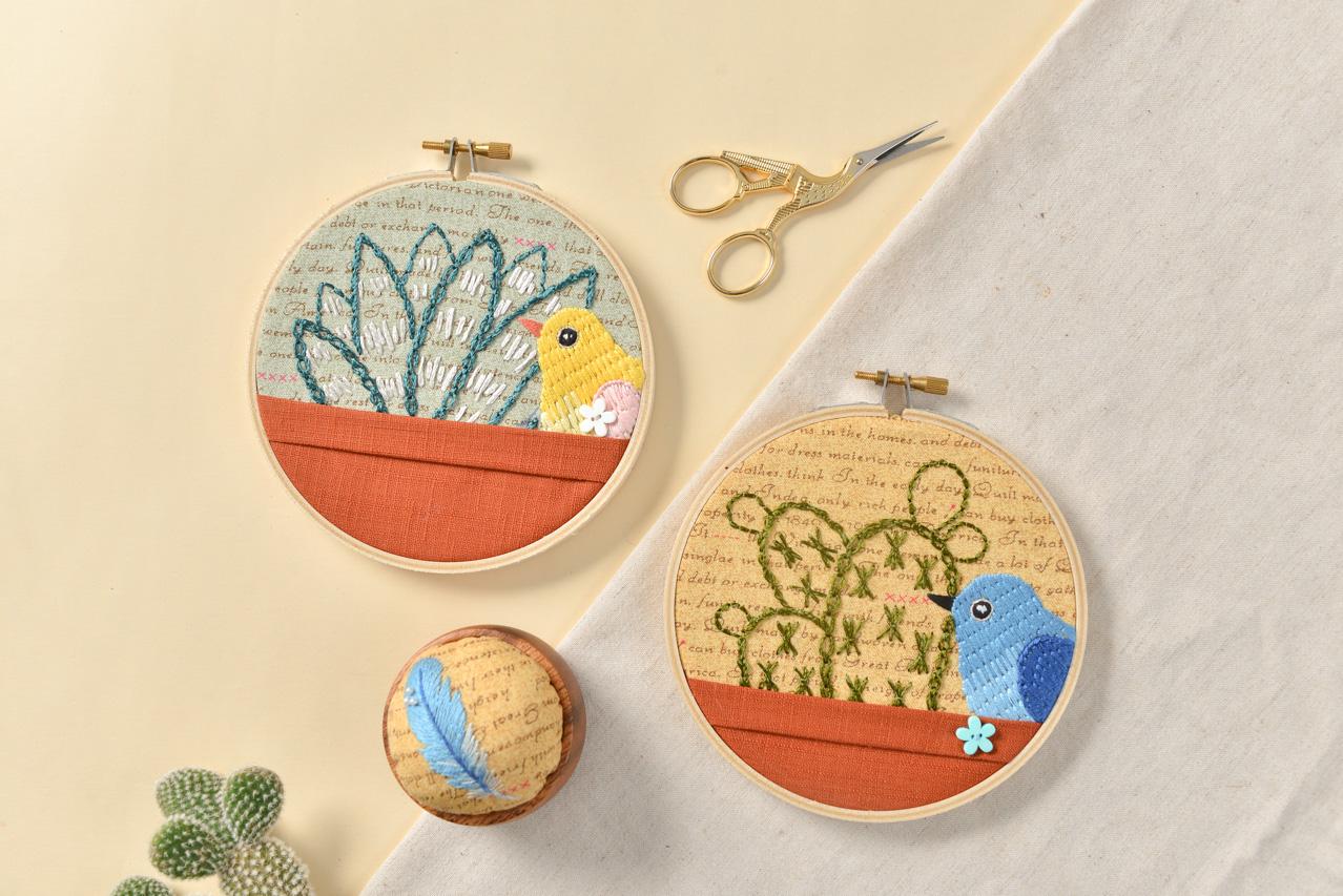 鳥類與植物刺繡