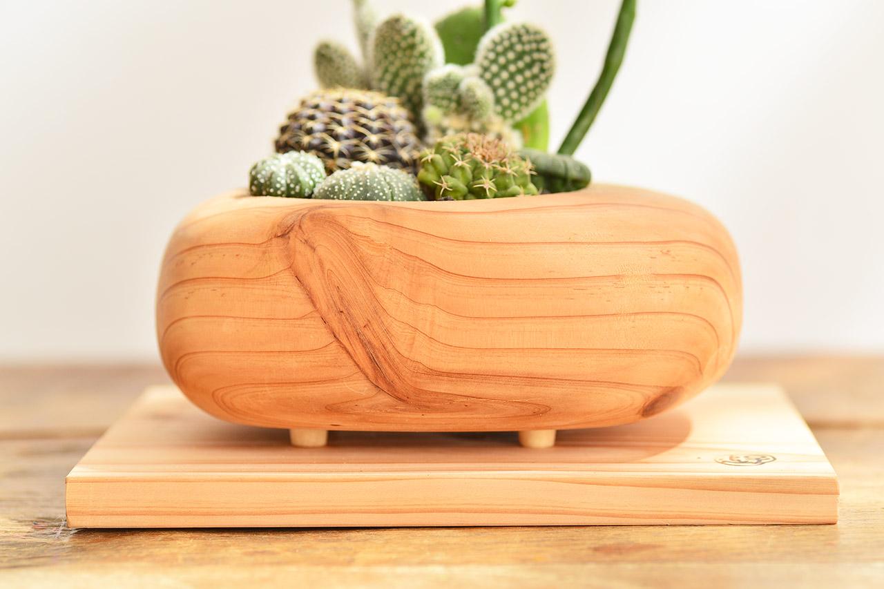 原木紋花盆