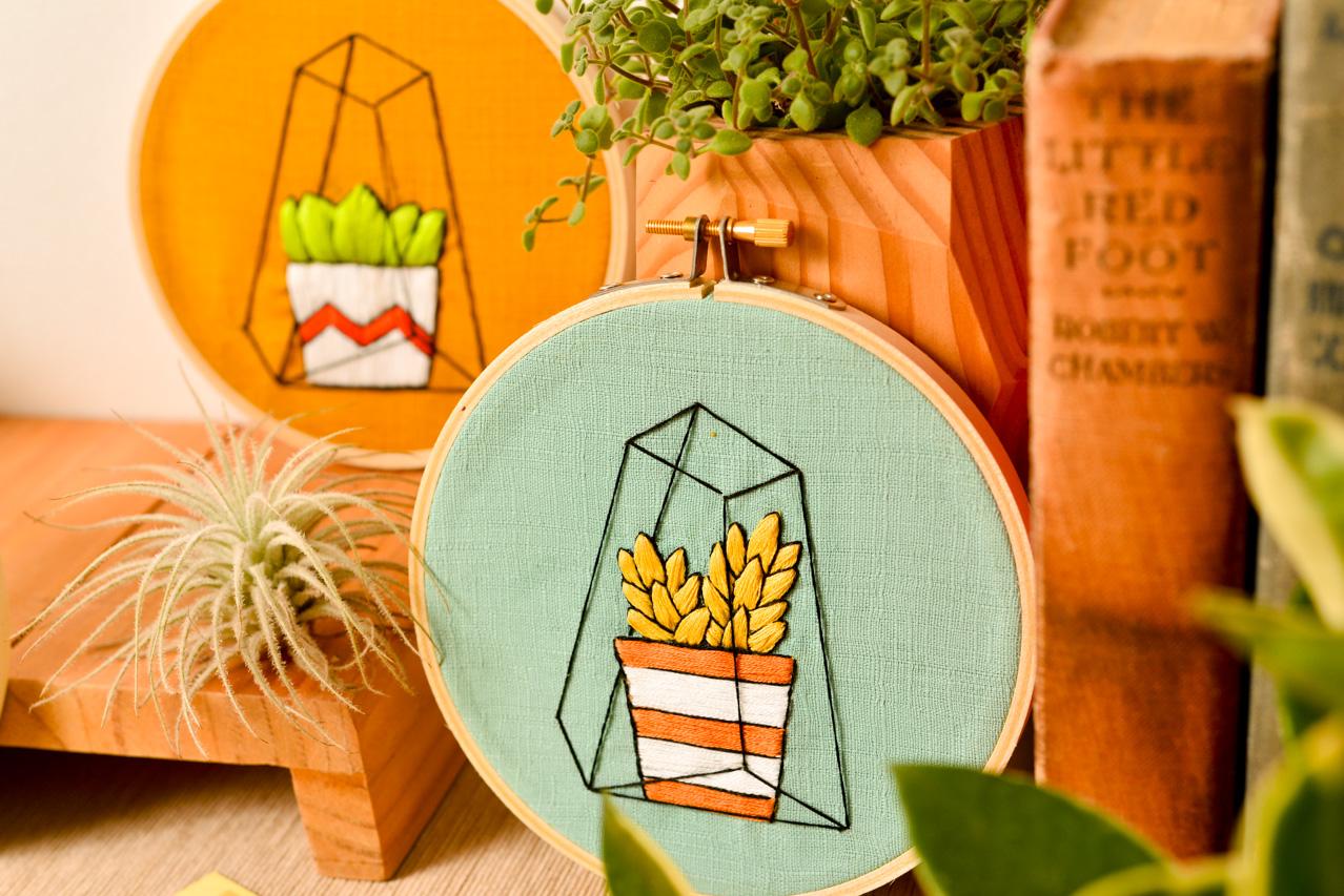 室內植物刺繡課