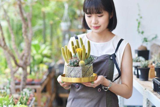 代客送花到台南,2021 開幕盆栽在這裡! 2021 最新大理石盆器作品 仙人掌組合8